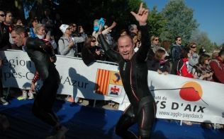 Andy happy to have finished the swim!